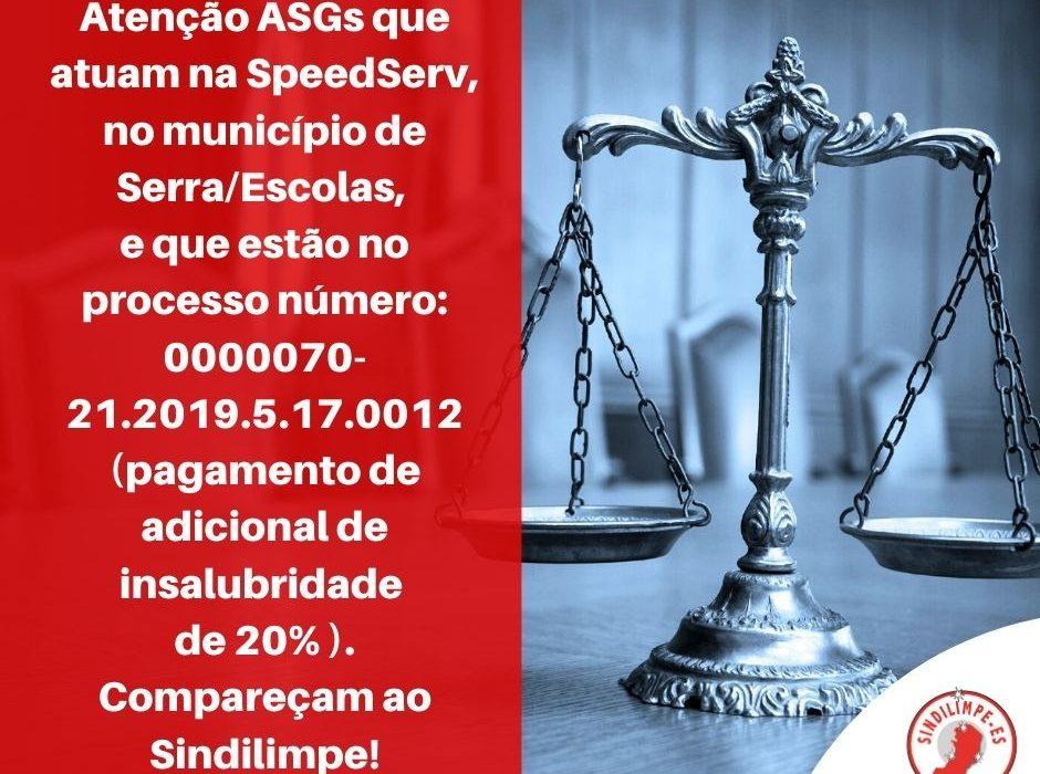 Atenção Auxiliares de Serviços Gerais na SpeedServ, no município de Serra/Escolas!
