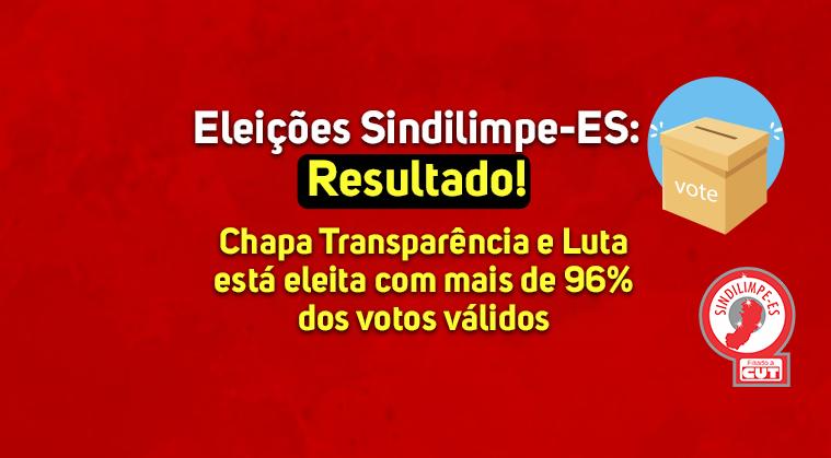 Eleições Sindilimpe-ES: Chapa Transparência e Luta é eleita com mais de 96% dos votos válidos